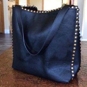Black Shoulder Bag with Copper Nail Heads.